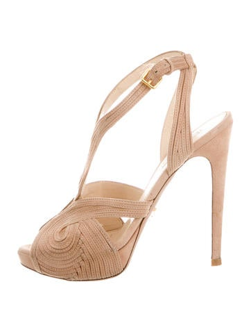 Prada Suede Platform Sandals None