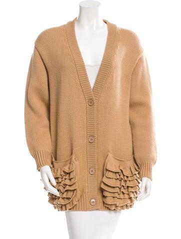 Prada Ruffle-Trimmed Wool Cardigan None
