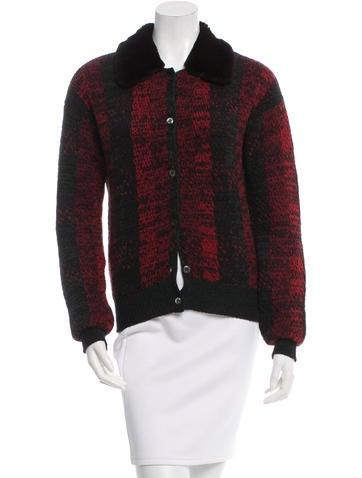 Prada Fur-Trimmed Wool Cardigan None
