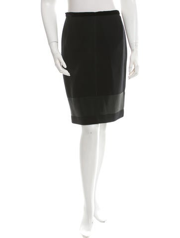 Prada Wool Pencil Skirt None