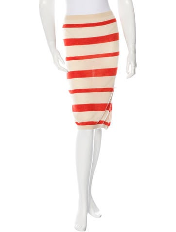 Prada Striped Pencil Skirt None
