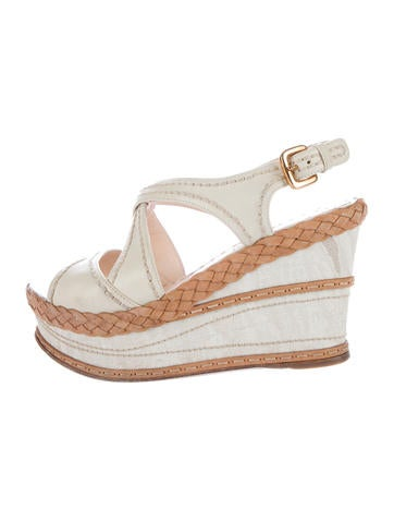 Prada Leather Platform Wedges None