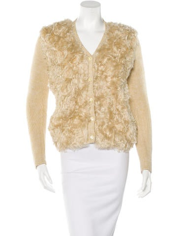 Prada Fur-Paneled Knit Cardigan None