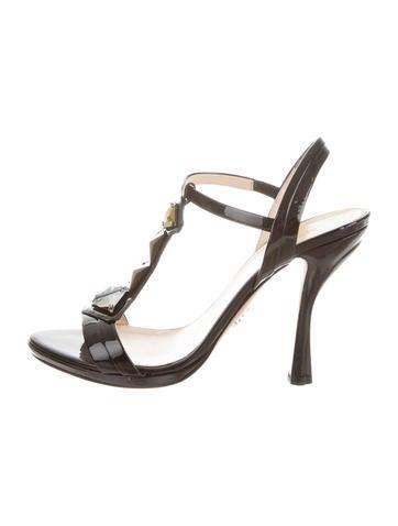 Prada Patent Embellished Sandals None