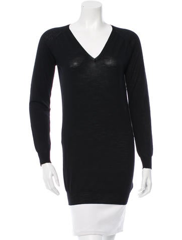 Prada Long Sleeve V-Neck Top None