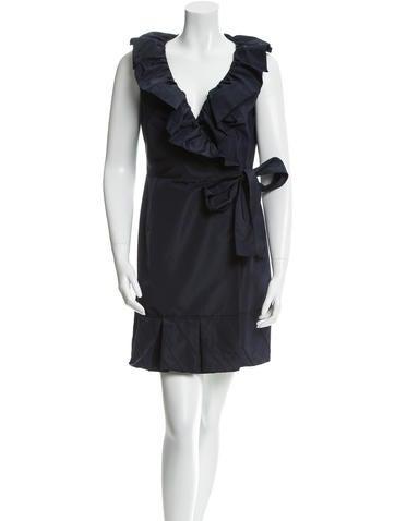 Prada Ruffle-Trimmed Wrap Dress None