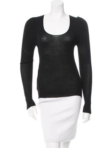 Prada Rib Knit Scoop Neck Top None