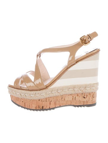 Prada Platform Patent Leather Wedge Sandals None