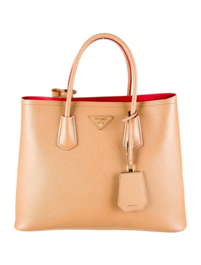 Prada Saffiano Cuir Double Tote - Handbags - PRA30828   The RealReal