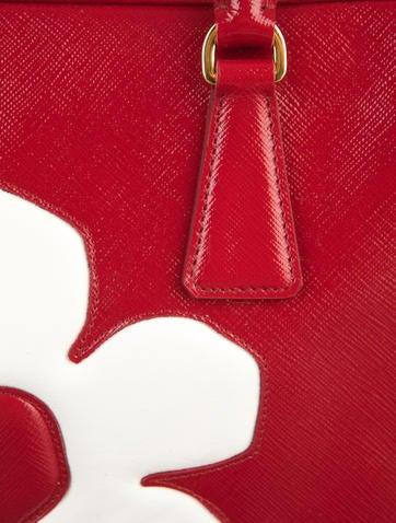 prada handbangs - Prada Saffiano Vernice Flower Zip Tote - Handbags - PRA41078   The ...