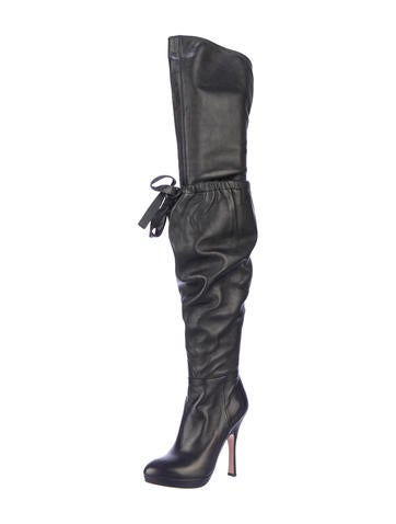 prada thigh high boots shoes pra41439 the realreal