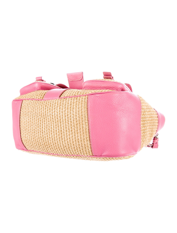 prada alligator straw shoulder bag