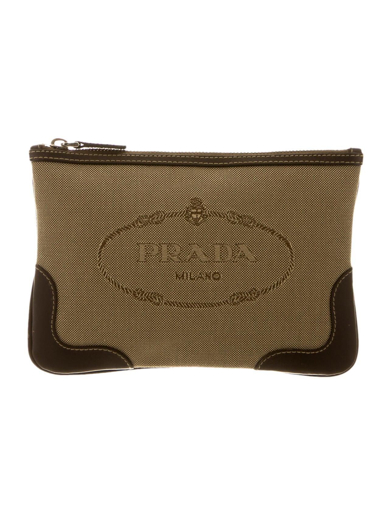 prada red leather wallet - Prada Canapa Clutch - Handbags - PRA58423 | The RealReal