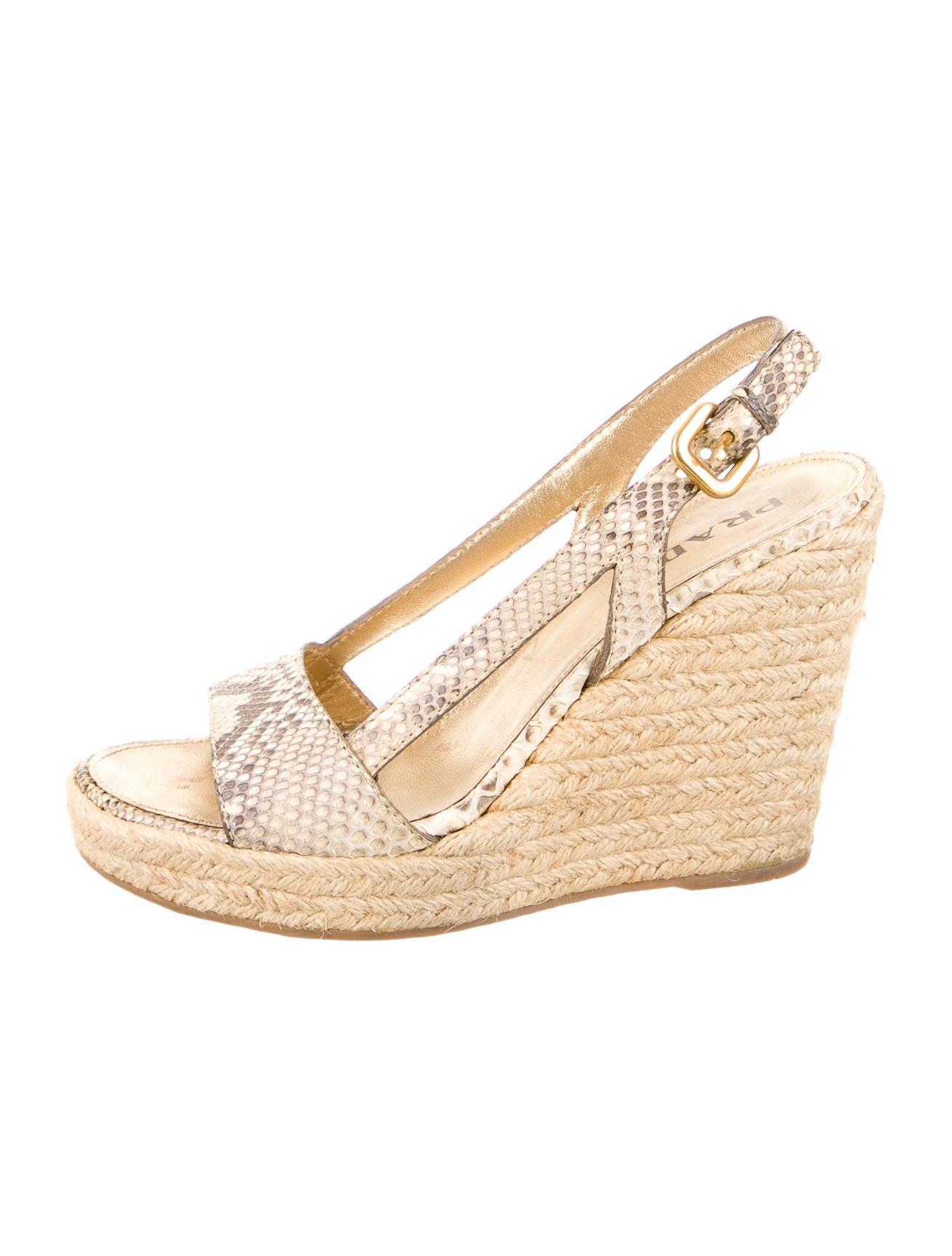 prada snakeskin espadrille wedges shoes pra61211 the