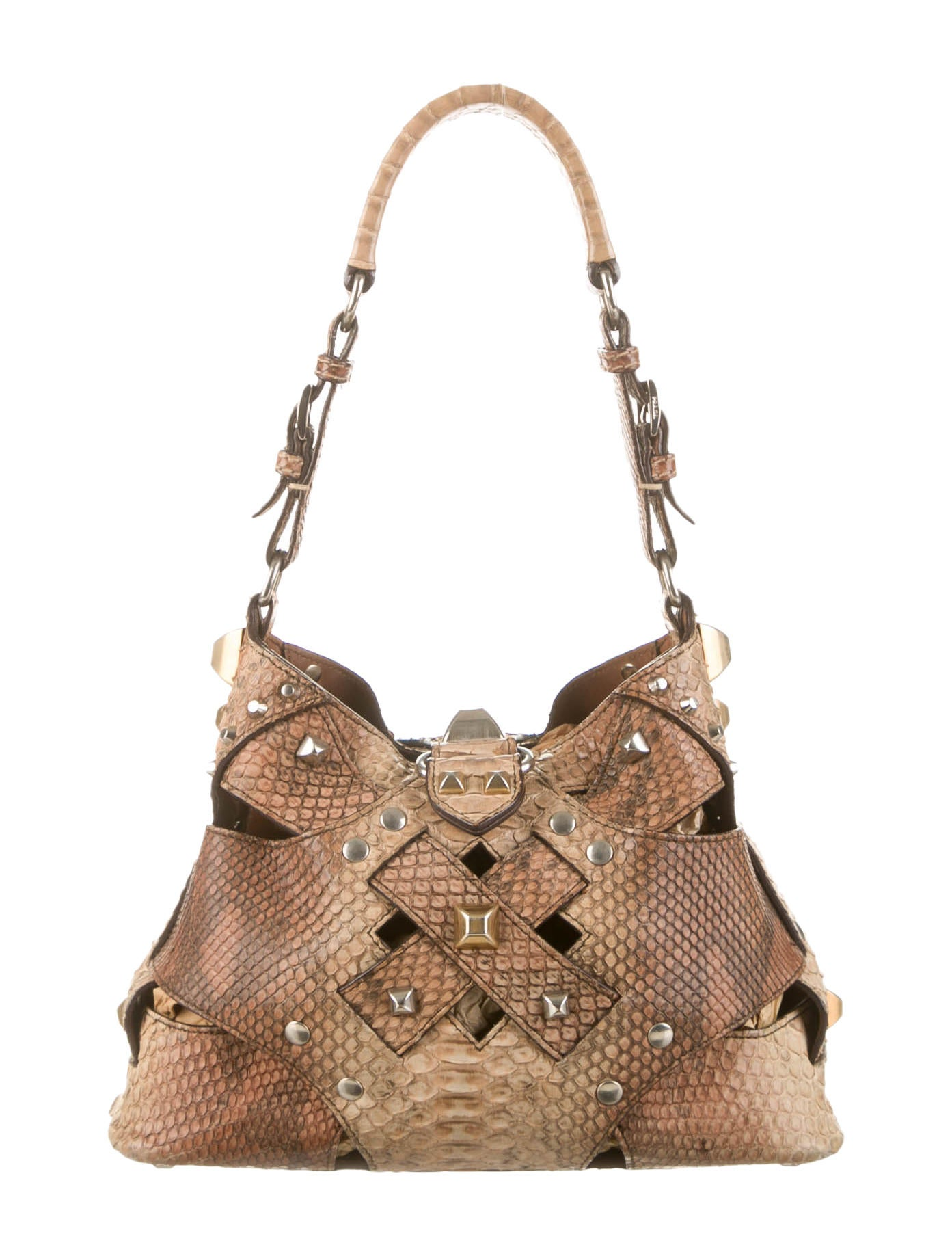 Prada Studded Python Bucket Bag - Handbags - PRA62576 | The RealReal