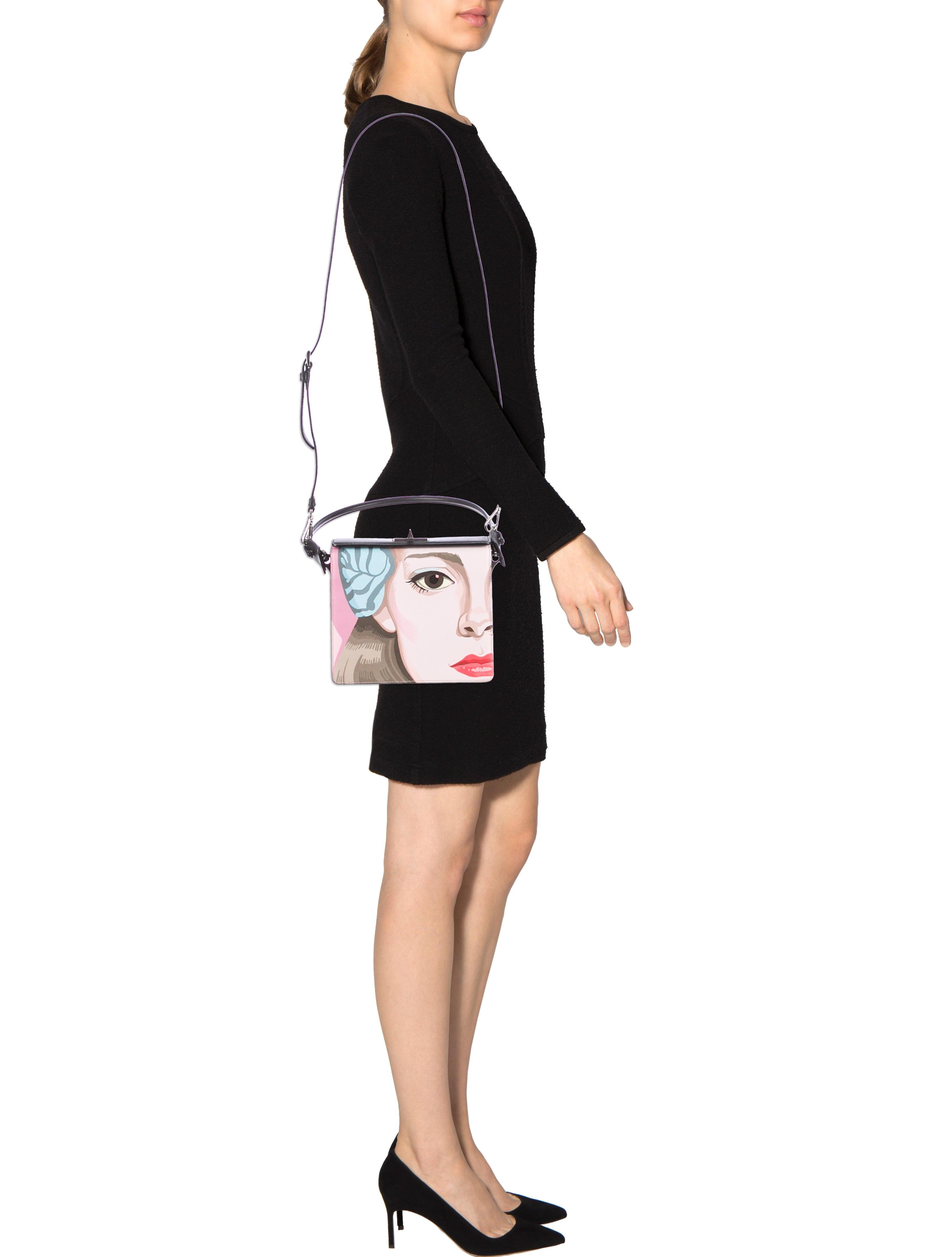 Prada Face-Printed Saffiano Shoulder Bag - Handbags - PRA62990 ...
