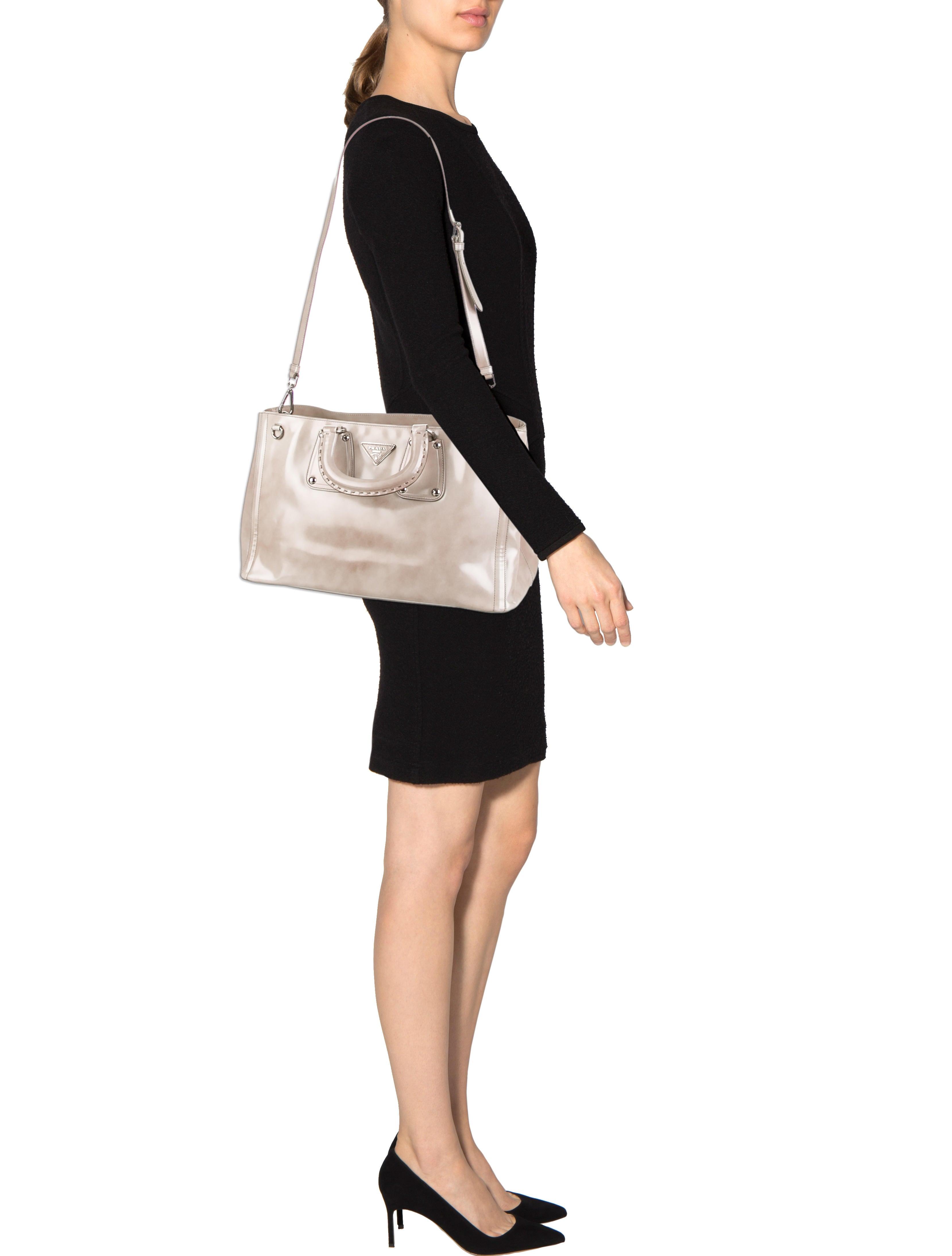 Prada Spazzolato Fume Tote - Handbags - PRA64459   The RealReal