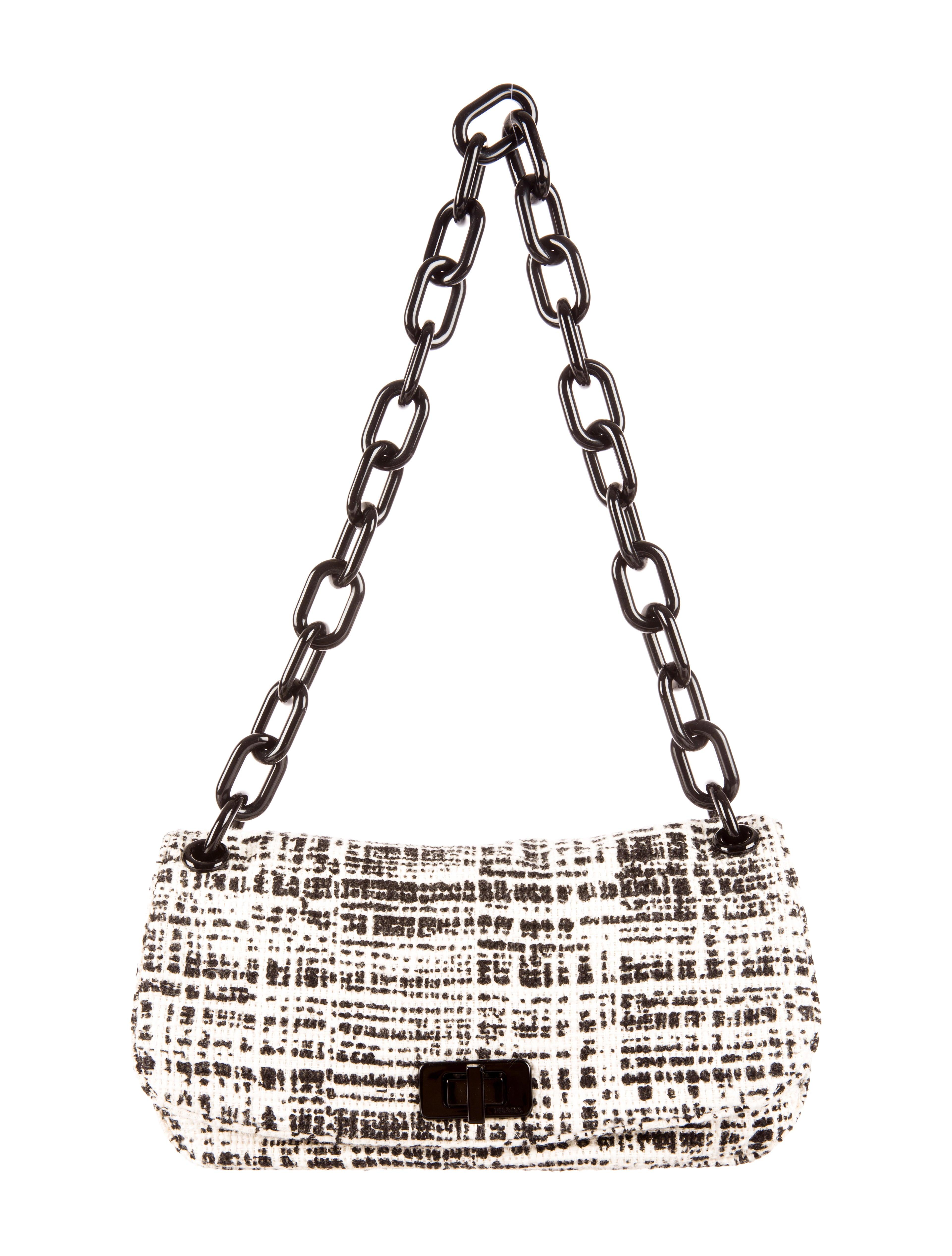 prada tweed handle bag