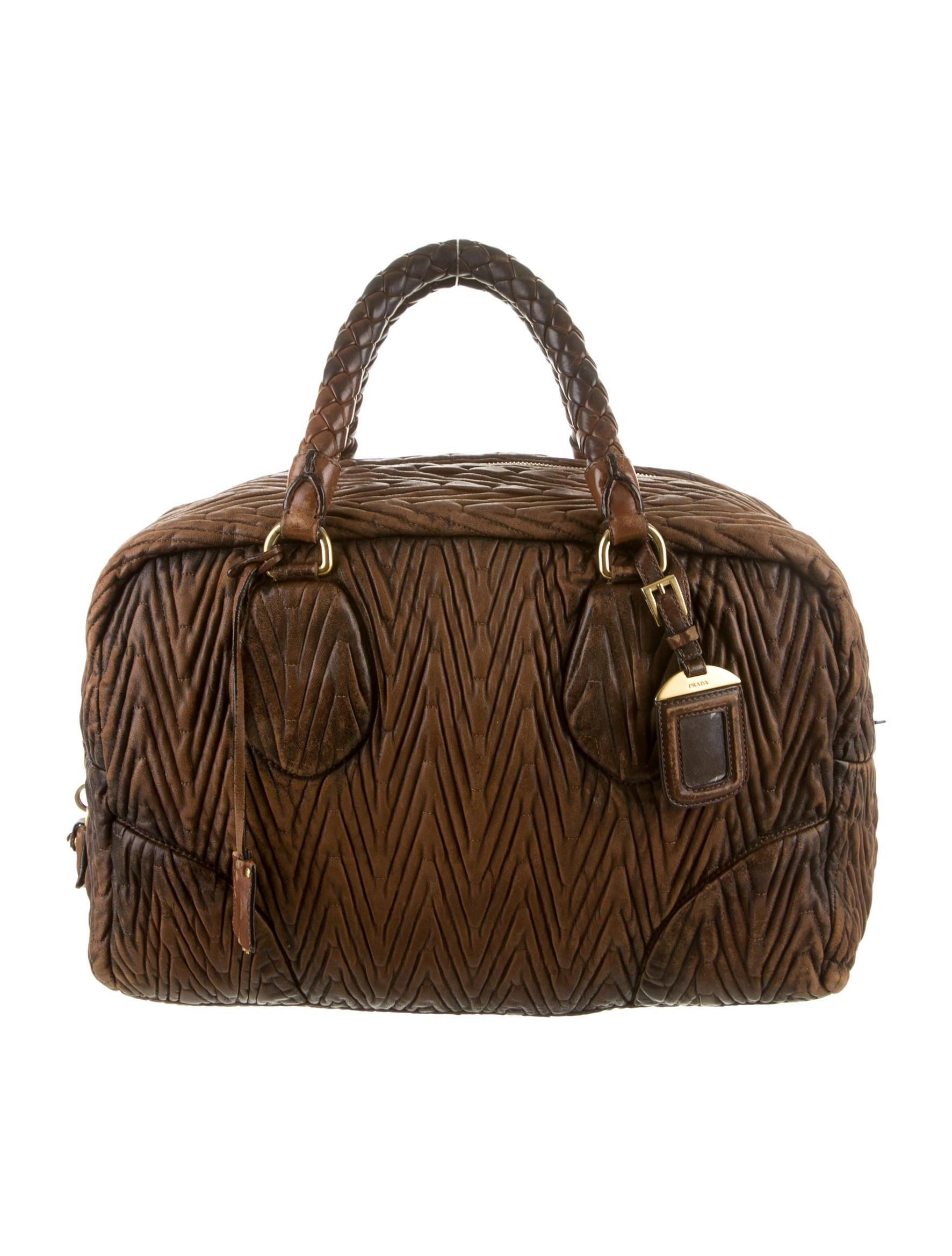 prada brown leather wallet - Prada Nappa Antic Bauletto Bag - Handbags - PRA71174   The RealReal