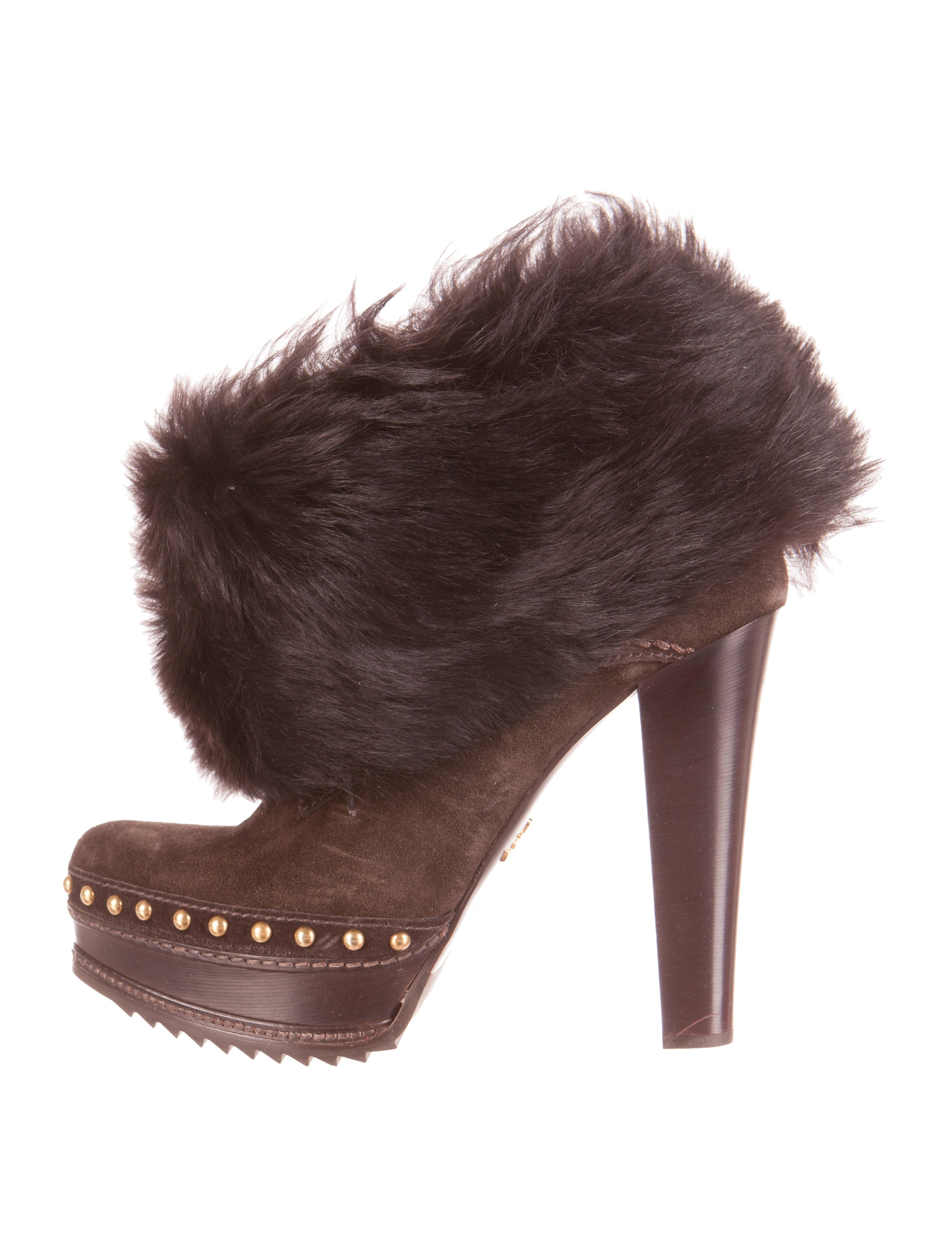 prada fur cuff platform ankle boots shoes pra71352