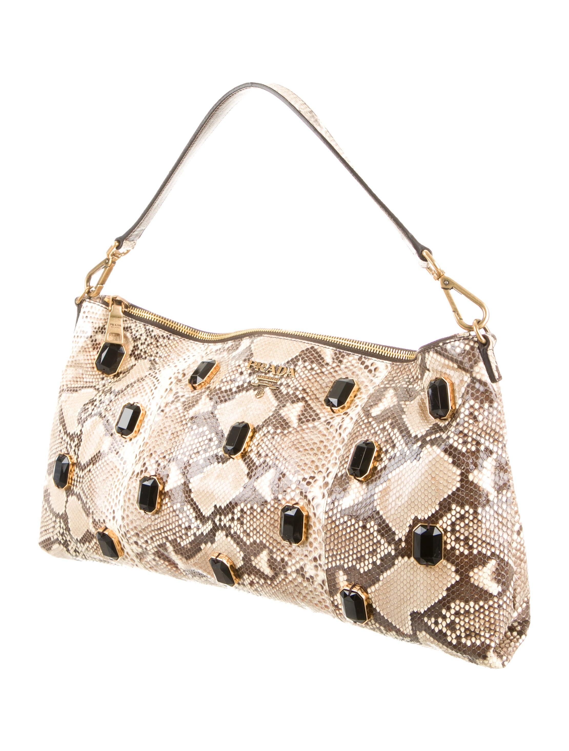 Prada Python Pietre Shoulder Bag - Handbags - PRA73621 | The RealReal