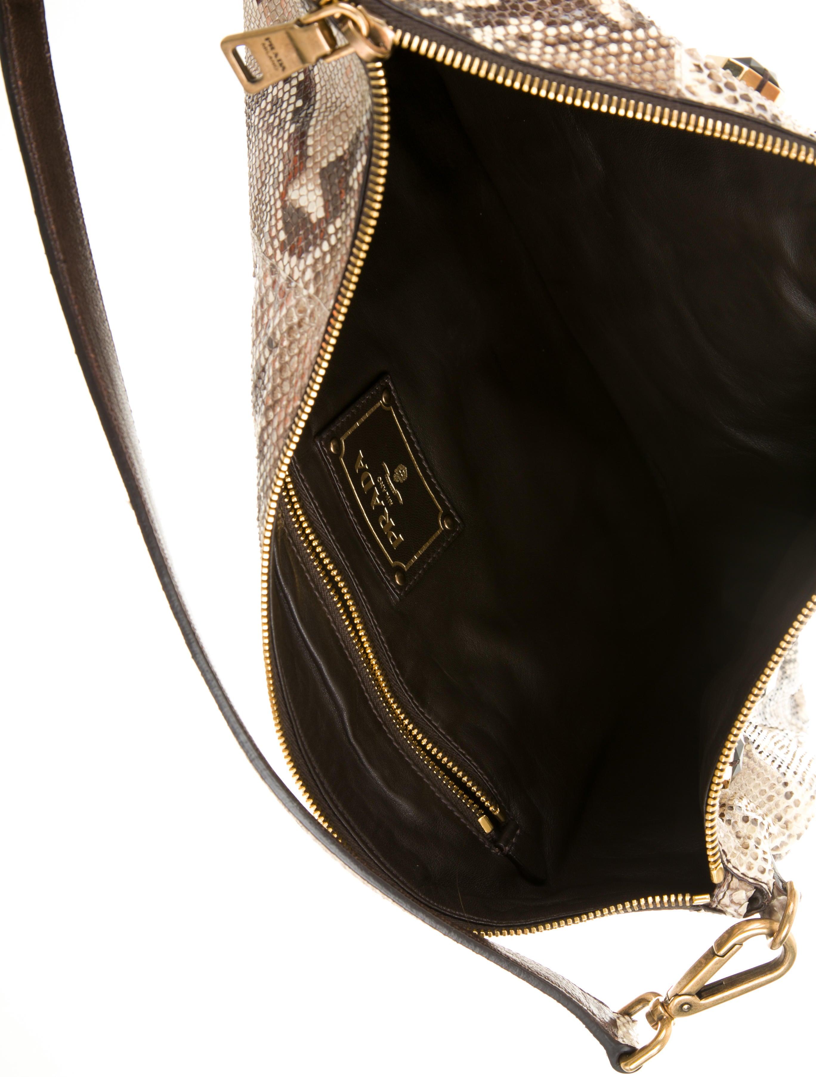 prada replica handbags - Prada Python Pietre Shoulder Bag - Handbags - PRA73621 | The RealReal