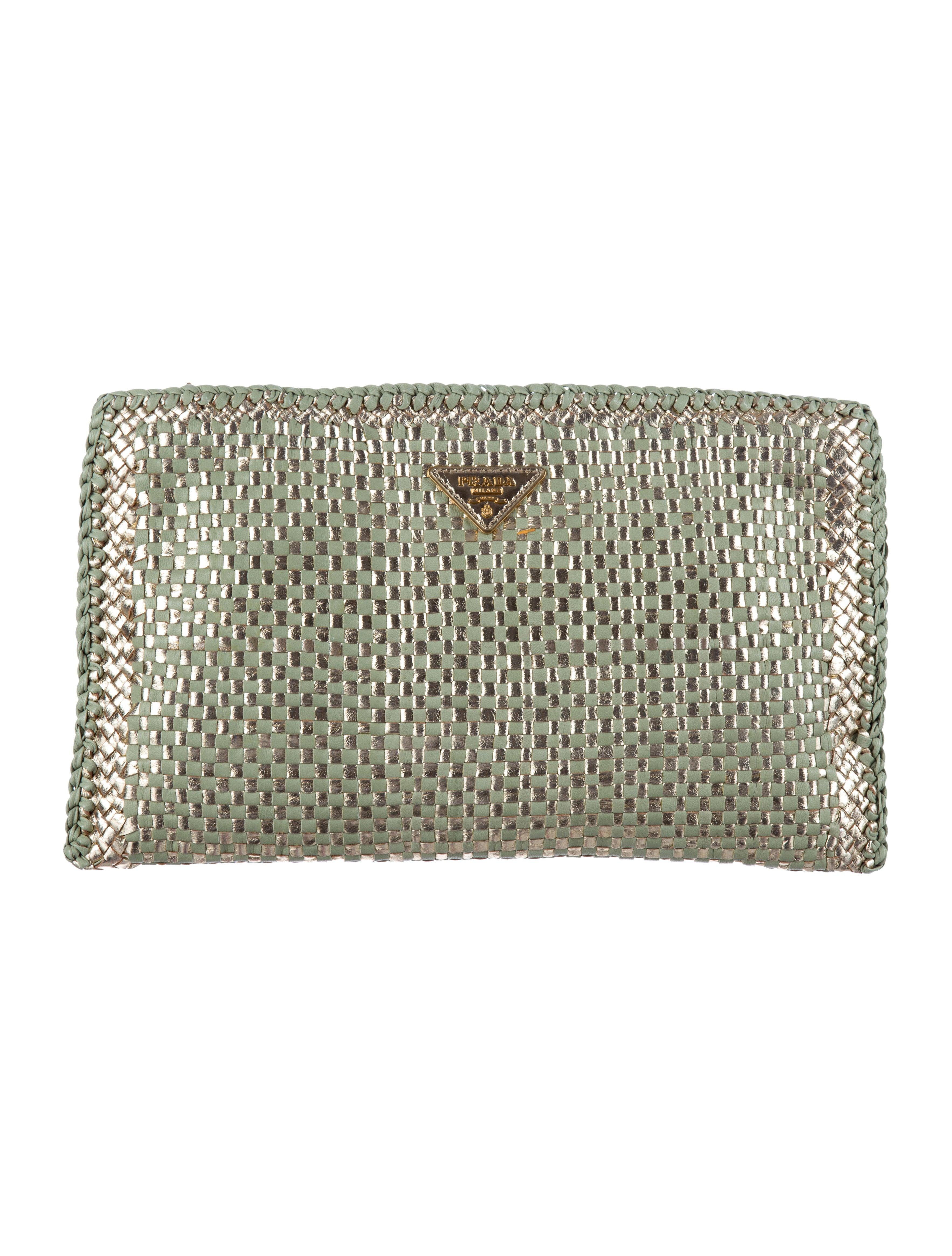 dbaeb398088d Prada Metallic Madras Clutch w/ Tags - Handbags - PRA81786 | The ... prada  bag cheap - PRADA Woven Goatskin Madras Zip Around Wallet Nero Black