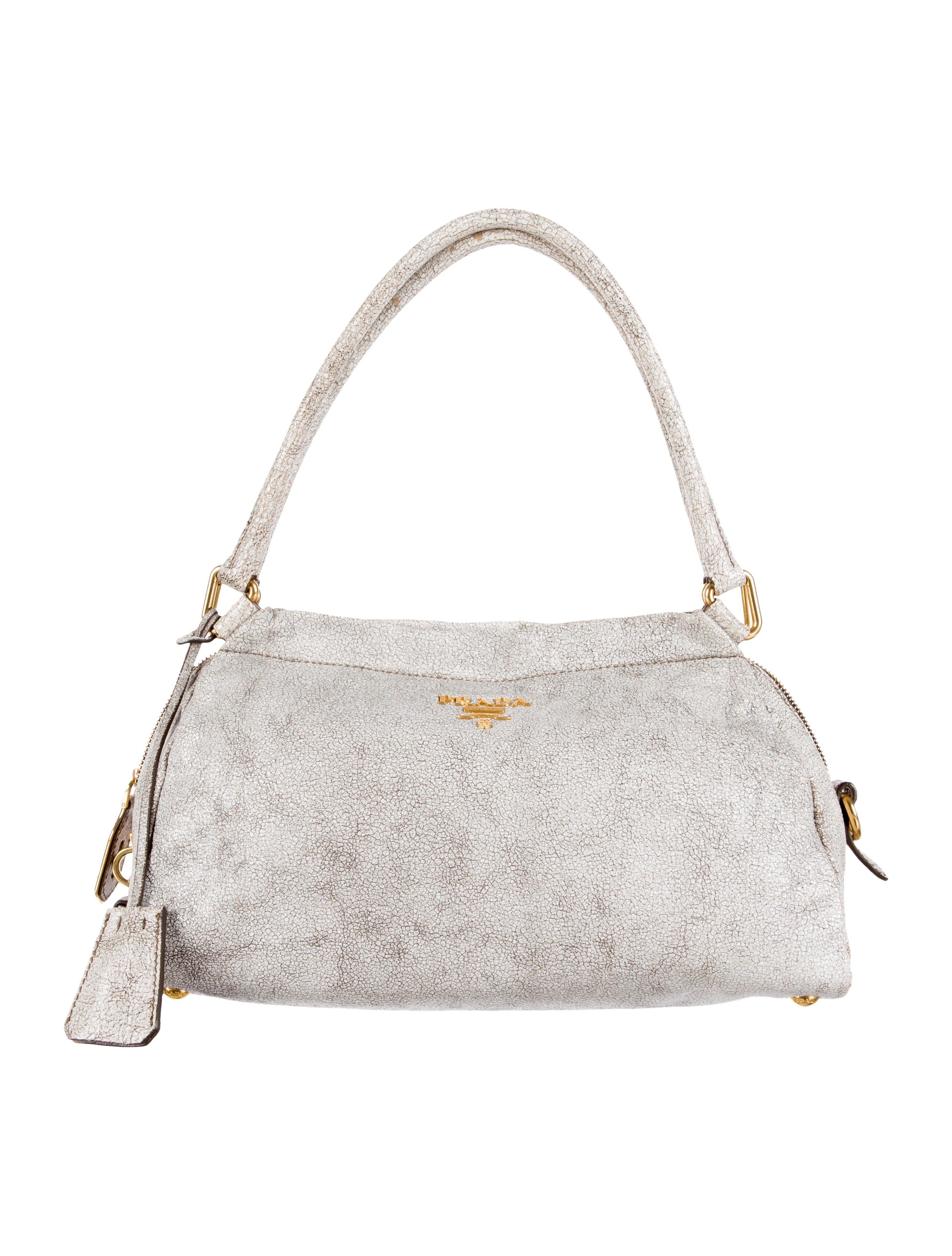 Prada Cracked Leather Handle Bag - Handbags - PRA82654 | The RealReal