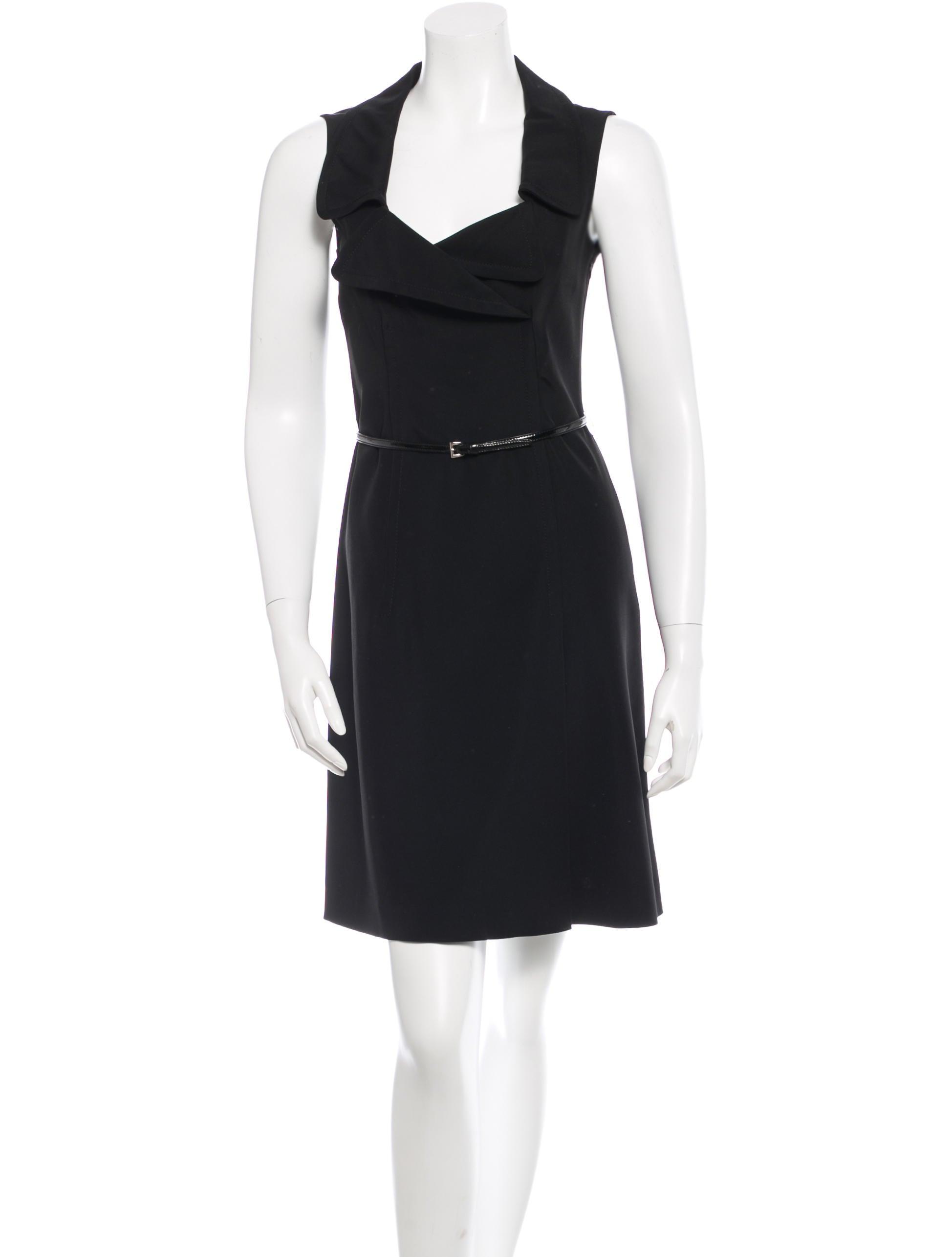 prada sleeveless belted dress clothing pra83500 the
