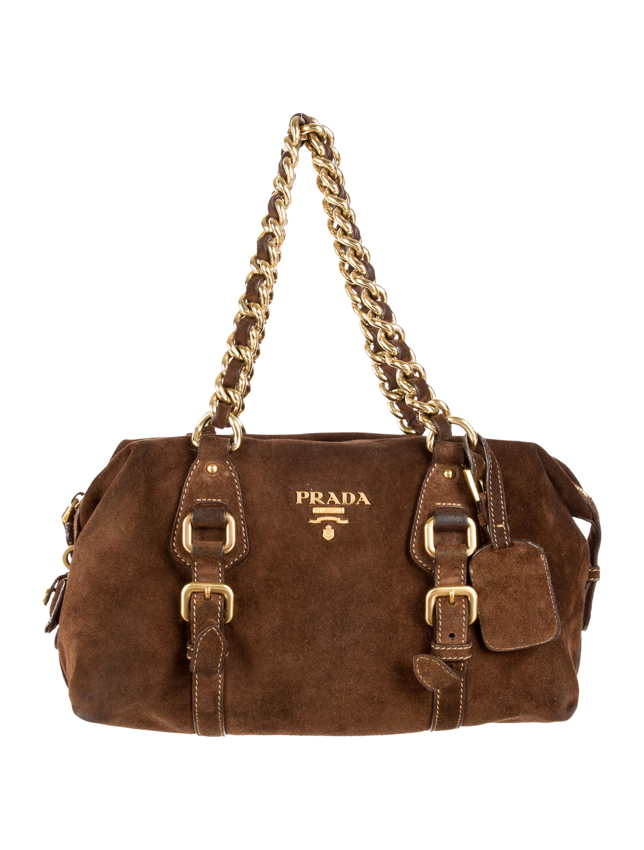 prada suede chain-link shoulder bag