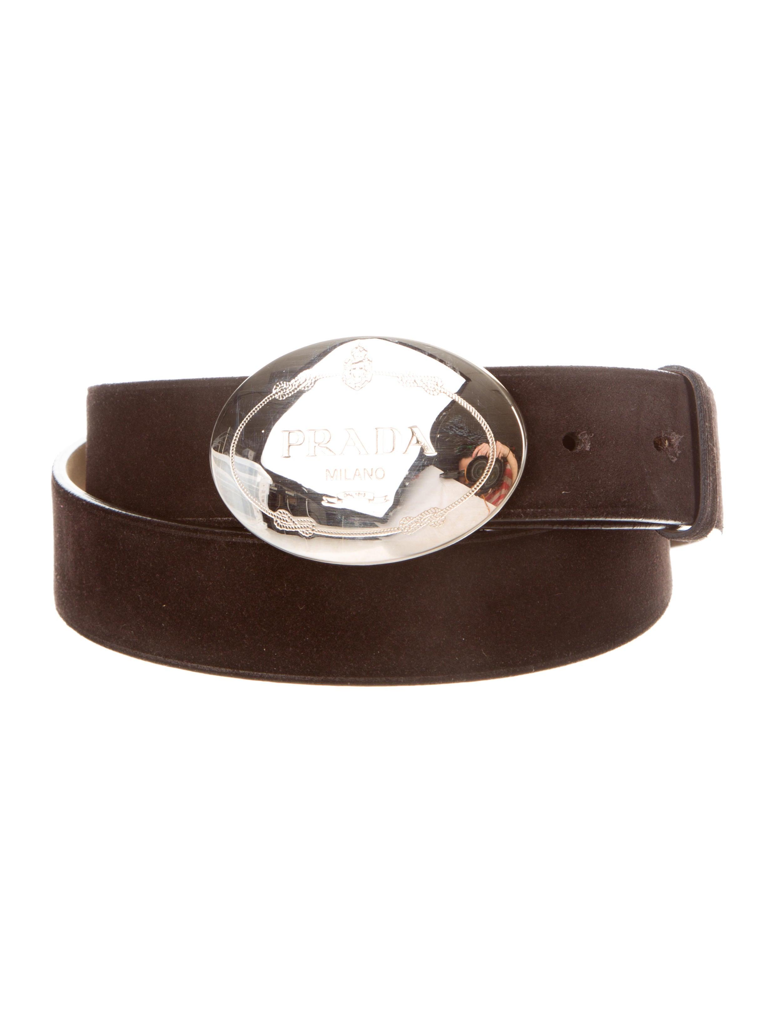 Prada Suede Logo Belt - Mens Accessories - PRA83780 | The RealReal