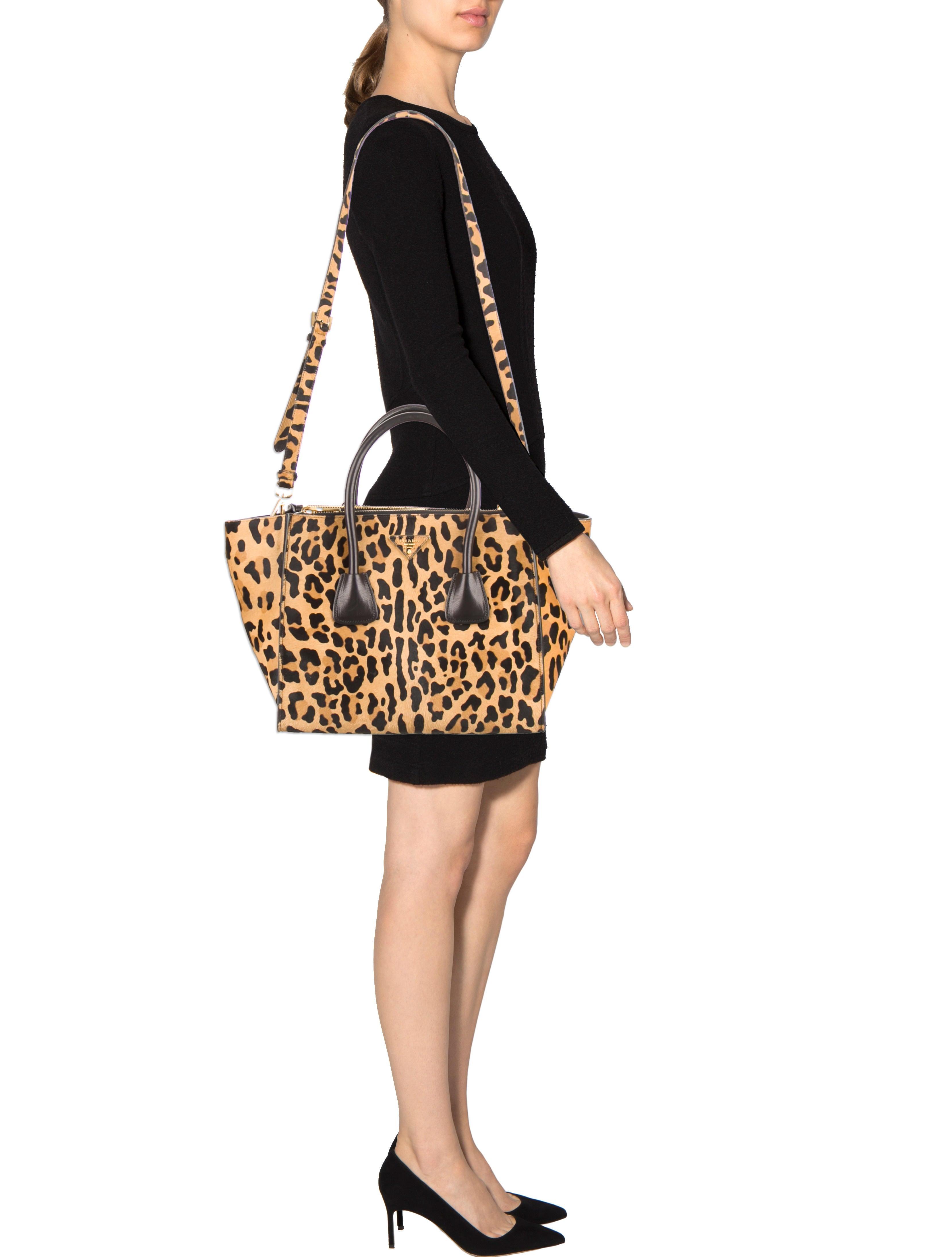 prada saffiano tote pink - Prada Ponyhair Double Zip Tote - Handbags - PRA85410 | The RealReal