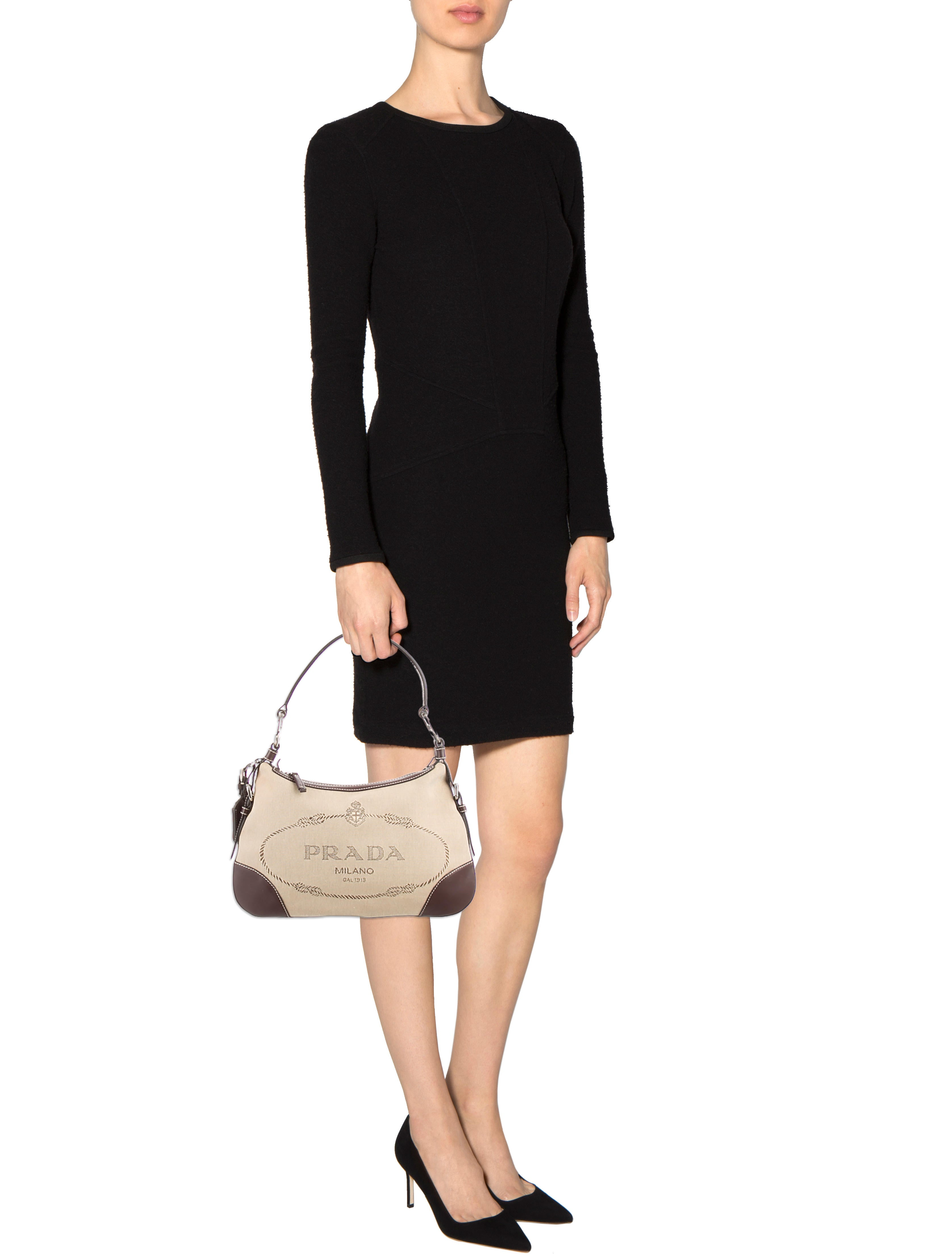 new prada purses - Prada Logo-Embellished Canapa Shoulder Bag - Handbags - PRA86121 ...