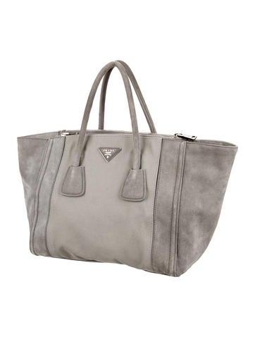 Prada Suede \u0026amp; Canvas Twin Tote - Handbags - PRA86255 | The RealReal
