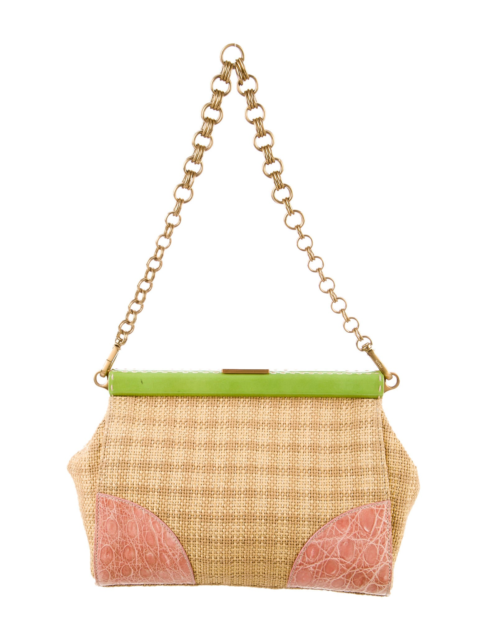 prada alligator straw shoulder bag