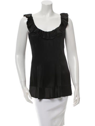 Prada Ruffle-Trimmed Silk Top None
