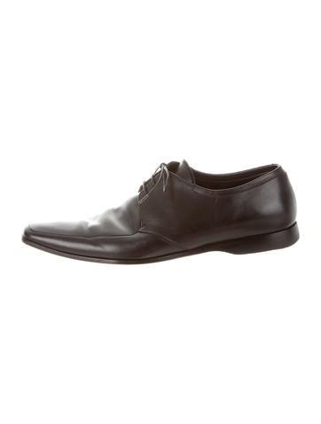 Prada Leather Semi-Pointed Toe Derbies