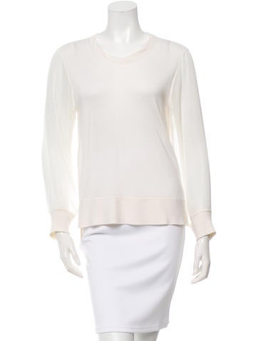 Reed Krakoff Knit Sheer-Accented Top None