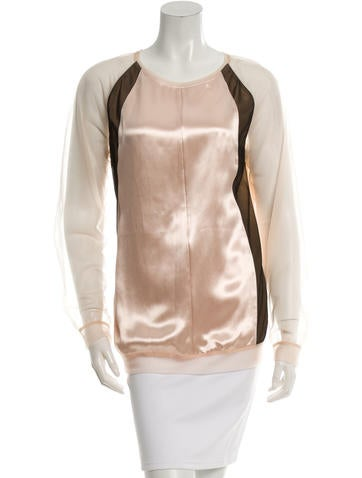 Reed Krakoff Satin Sheer-Accented Top w/ Tags None