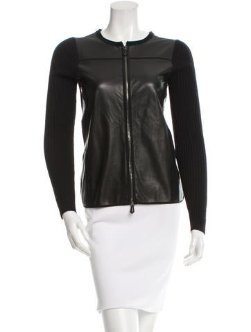 Reed Krakoff Leather-Accented Cardigan None
