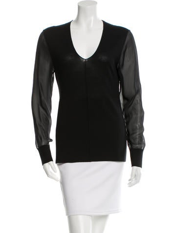 Reed Krakoff Sheer-Accented Long Sleeve Top None