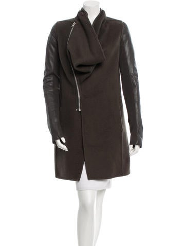Rick Owens Leather-Trimmed Long Coat None