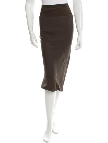 Rick Owens Silk Midi Skirt None