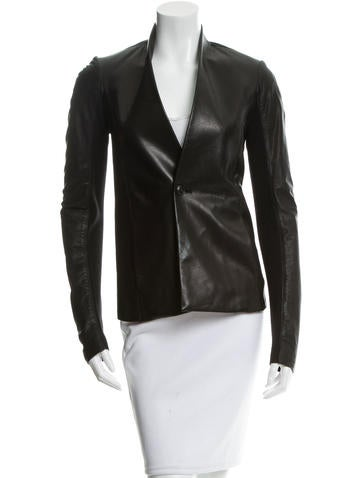 Rick Owens Collarless Leather Blazer w/ Tags None
