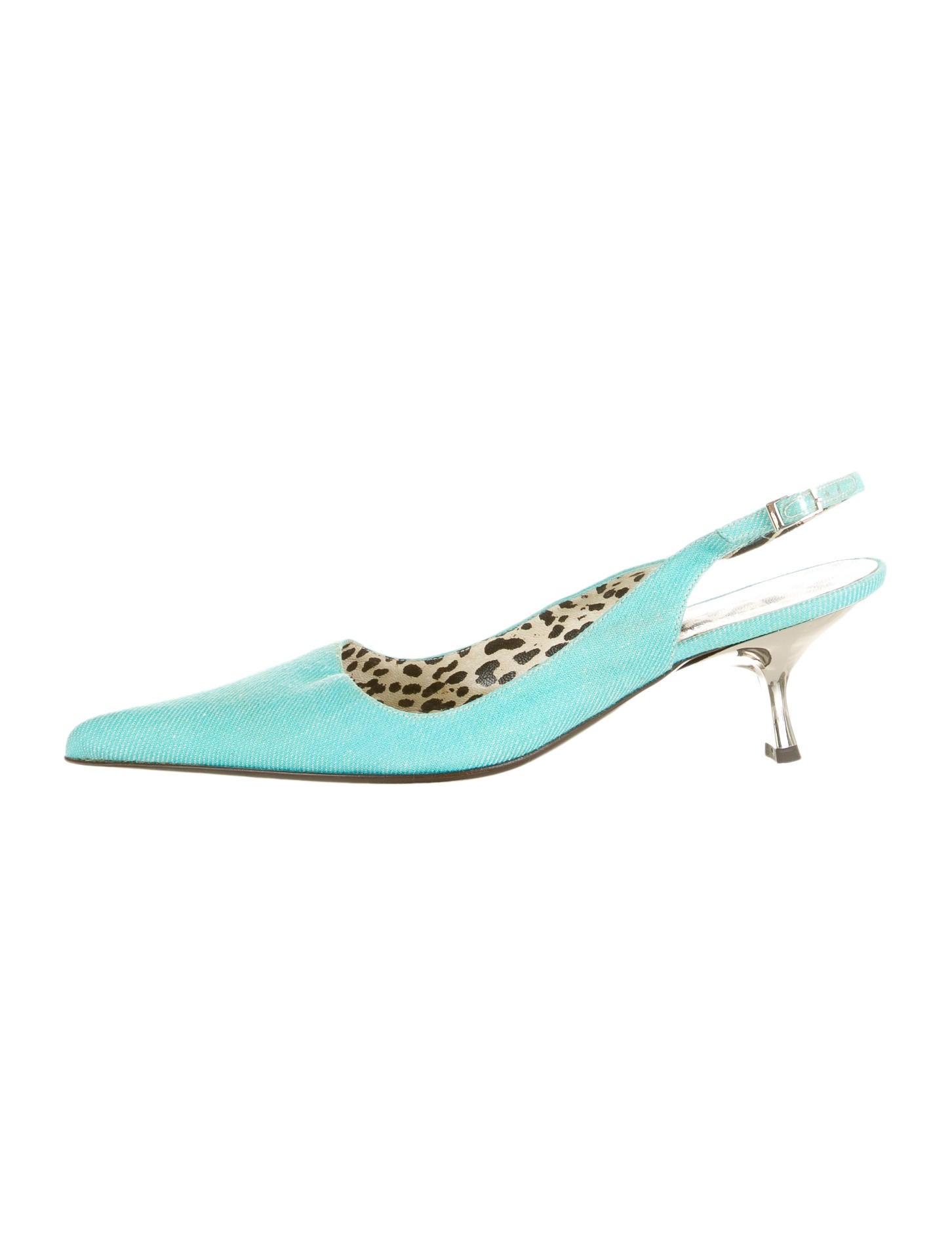 Aqua Kitten Heels