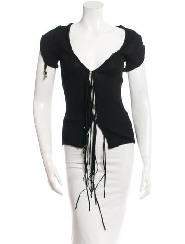 Roberto Cavalli Short Sleeve Ribbed Top None
