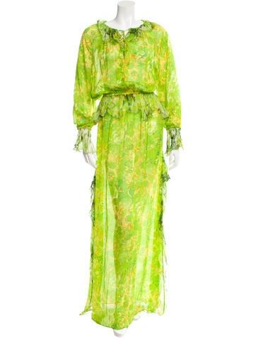 Roberto Cavalli Silk Ruffle-Trimmed Dress None