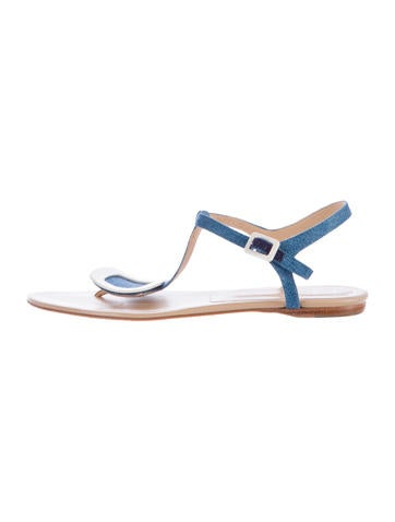 Roger Vivier Buckle-Accented Denim Sandals None