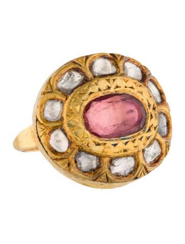 18K Diamond Slice and Pink Tourmaline Cocktail Ring