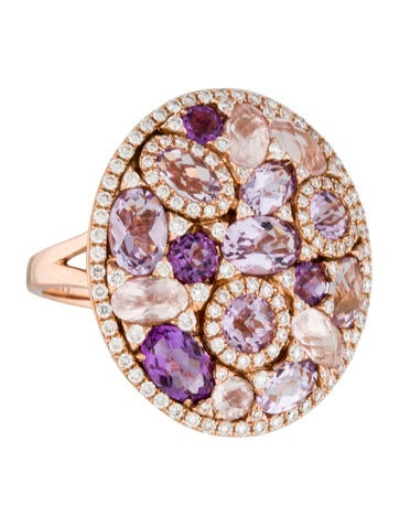 Amethyst, Morganite and Diamond Cluster Cocktail Ring